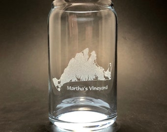 Marthas Vineyard - Laser etched 16 oz Can Glass
