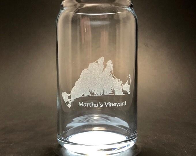 Marthas Vineyard - Laser etched 16 oz Can Glass