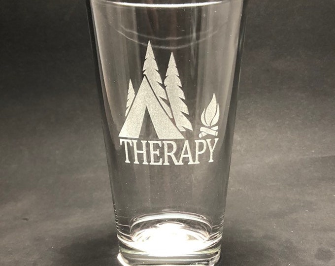 Tent Therapy - Etched Pint Glass