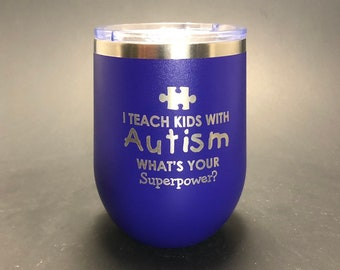 Autism Teacher Superpower - 12 oz Polar Stemless Wine
