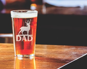 Dad and Deer - Etched Pint Glass