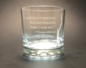 Lake George with Thomas Jefferson quote - Etched 10.25 oz Rocks Glass