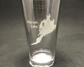 Set of 2 Pharroh Lake Laser Etched Pint Glass