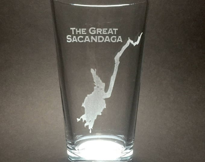 Featured listing image: Set of 4 The Great Sacandaga - Etched Pint Glass