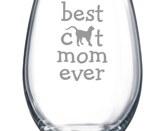 Best Dog Mom Ever - Etched 15 oz Stemless Wine Glass