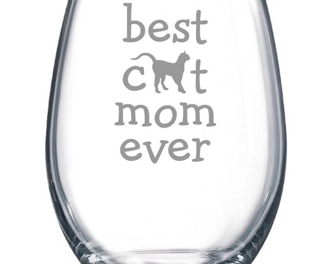 Best Dog Mom Ever - Etched 15 oz Stemless Wine Glass