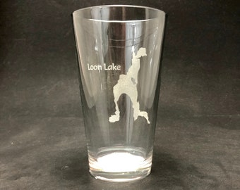 Set of 2 Loon Lake Laser Etched Pint Glass