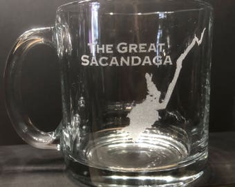 The Great Sacandaga - Etched 13  oz Coffee Mugs