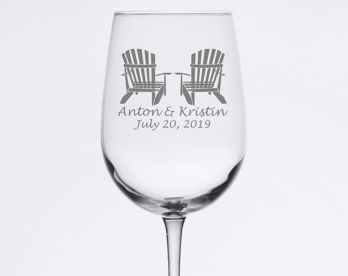 Custom Wedding Set - Adirondack Chairs - Etched 18.5 oz Stemmed Wine Glass