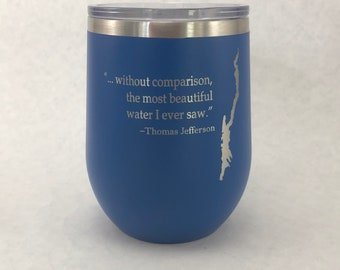 Lake George with Thomas Jefferson quote  12 oz Polar Stemless Wine