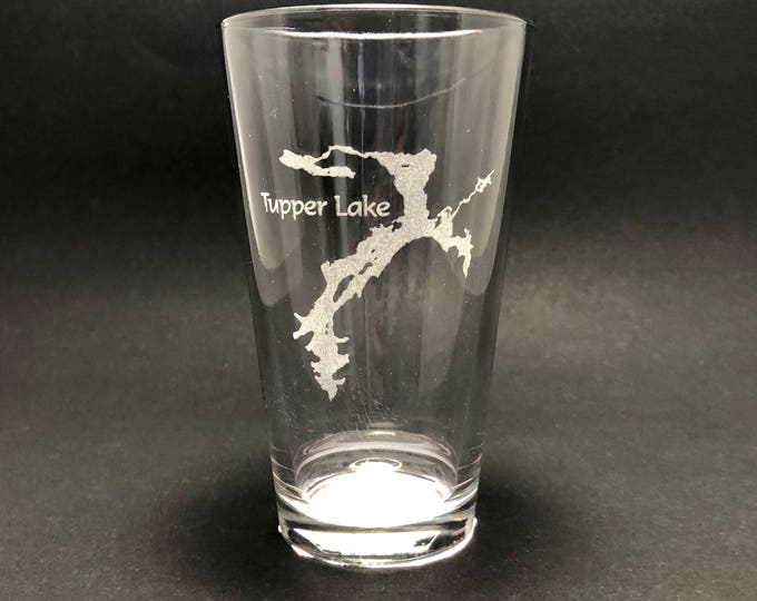 Tupper Lake - Etched Pint Glass - Tupper Lake, New York