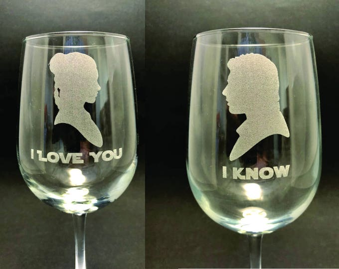 I Love You/I Know - Star Wars - Set of 2 18.5 oz Stemmed Wine Glasses