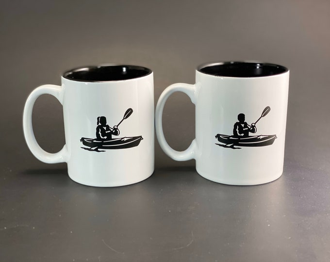 His and Her Kayaking Mug Set - 11 oz Ceramic Beverage Mug