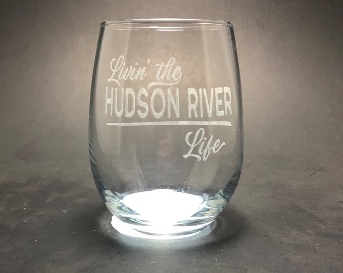 Hudson River Life - Etched 15 oz Stemless Wine Glass
