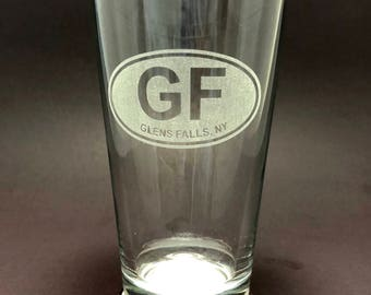 Glens Falls Etched Euro Sticker Style - Pint Glass - Glens Falls New York