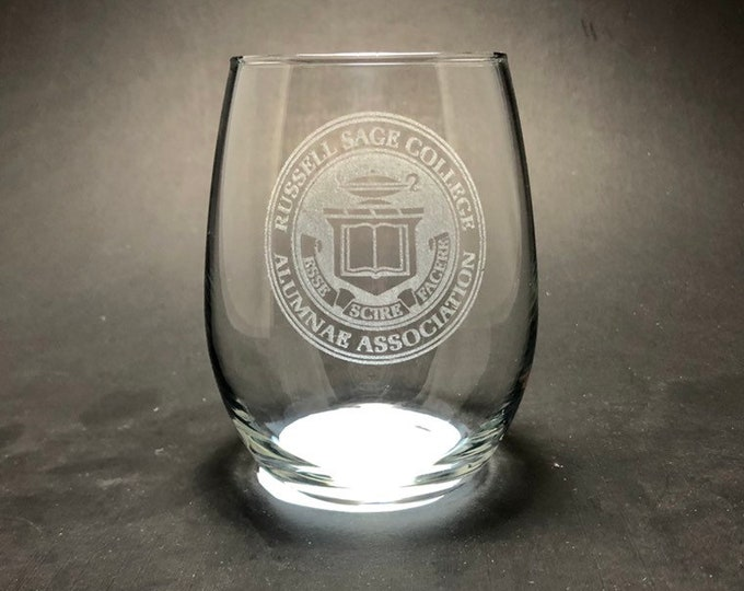Russell Sage Alumnae - Etched 15 oz Stemless Wine Glass