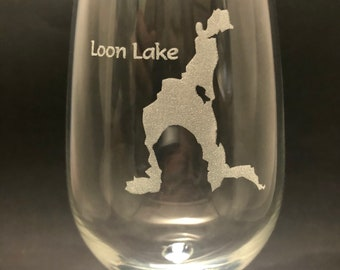 Loon Lake  - Etched 18.5 oz Stemmed Wine Glass