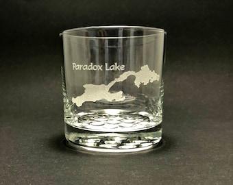Paradox Lake - Etched 10.25 oz Rocks Glass - Paradox Lake  New York