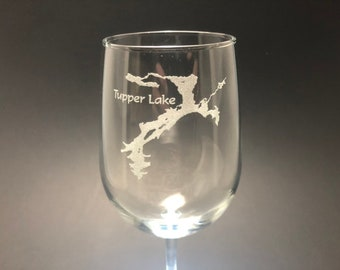 Tupper Lake - Etched 18.5 oz Stemmed Wine Glass - Tupper Lake, New York