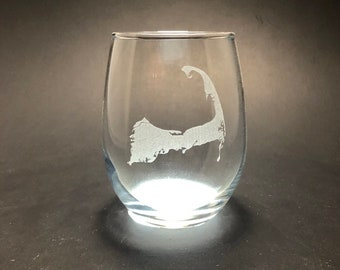 Cape Cod - Etched 15 oz Stemless Wine Glass