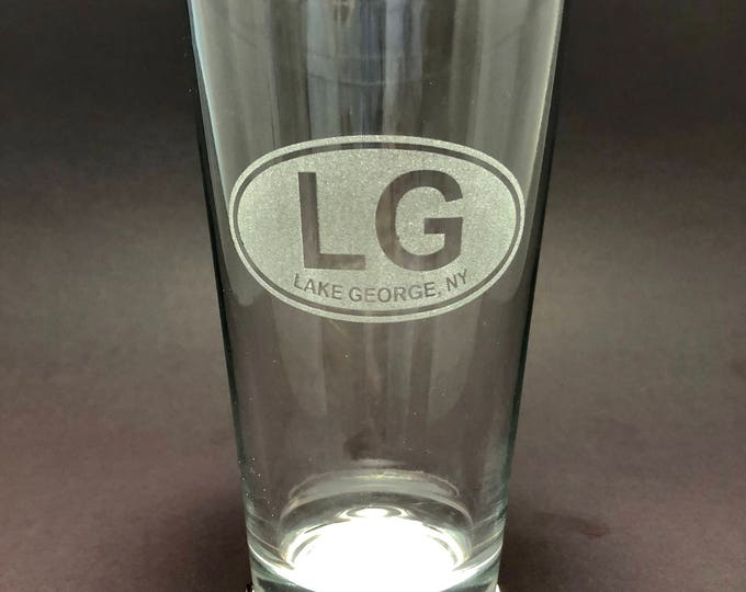 Lake George Euro style laser etched - Etched Pint Glass
