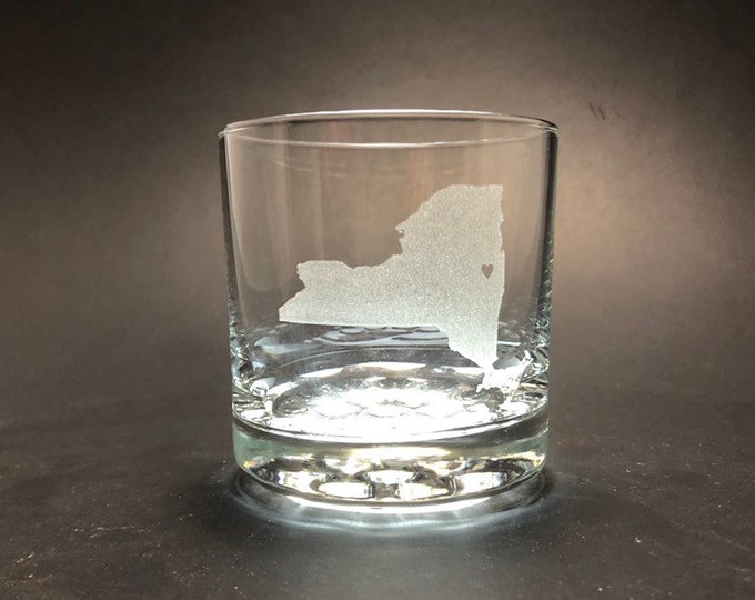 New York where your heart is - Etched 10 oz Rocks Glass