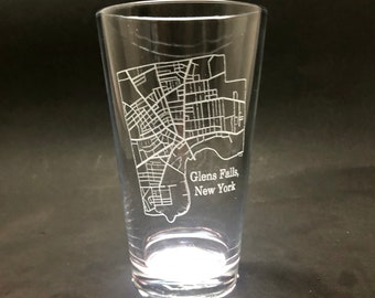 Set of 2 Glens Falls Streets Map - Etched Pint Glass