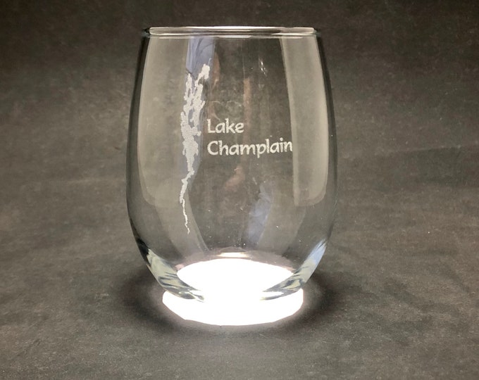 Lake Champlain - Etched 15 oz Stemless Wine Glass