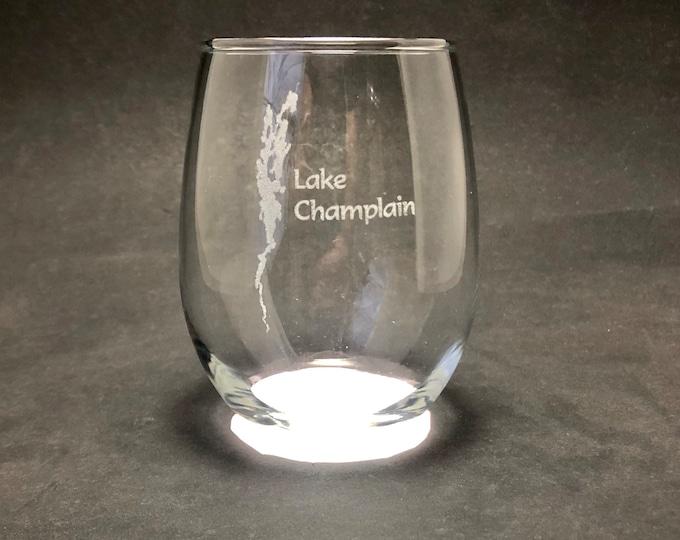 Lake Champlain - Etched 15 oz Stemless Wine Glass
