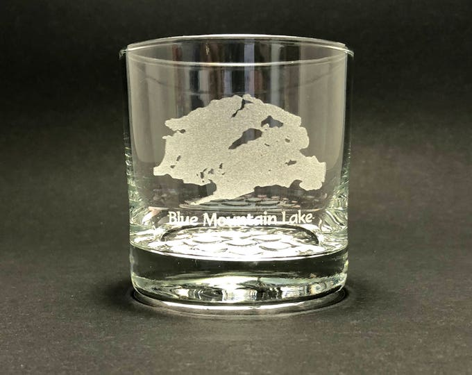 Blue Mountain Lake - Etched 10.25 oz Rocks Glass - Blue Mountain Lake New York