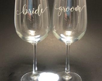 Bride Groom in scroll font - Set of 2 18.5 oz Stemmed Wine Glasses