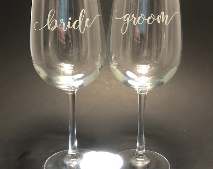Bride Groom in scroll font - Set of 2 18.5 oz Stemmed Wine Glasses