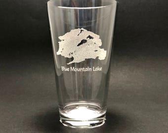 Blue Mountain Lake - Etched Pint Glass - Blue Mountain Lake, New York