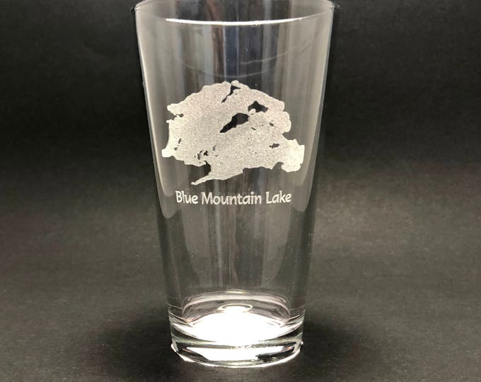 Blue Mountain Lake - Etched Pint Glass - Blue Mountain Lake, New York