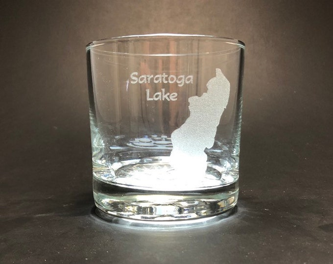 Saratoga Lake - Etched 10 oz Rocks Glass