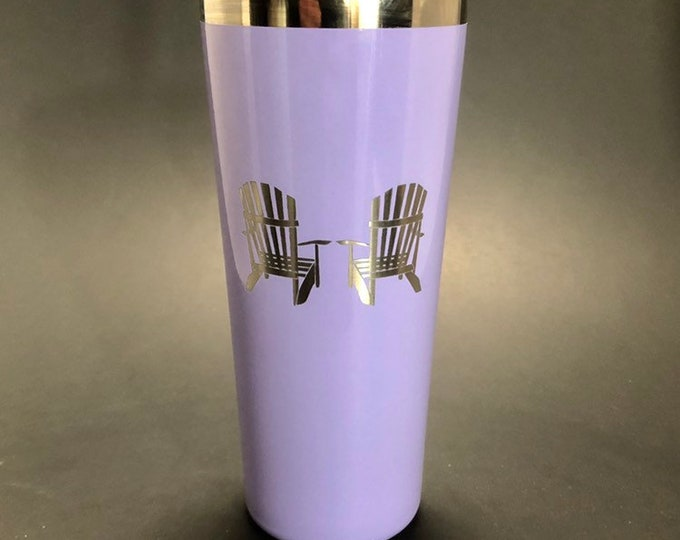 Adirondack Chairs laser etched on a 22 oz insulated tumbler