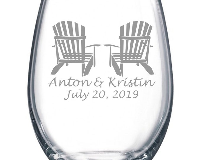 Custom Wedding Set - Adirondack Chairs - Etched 15 oz Stemless Wine Glass