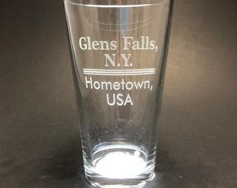 Glens Falls Hometown USA - Pint Glass - Glens Falls New York