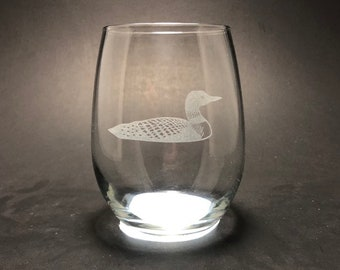 Loon - Etched 15 oz Stemless Wine Glass