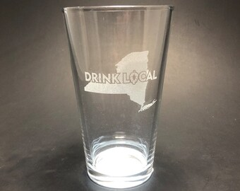 SALE!  DRINK LOCAL New York - Etched Pint Glass