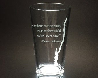 Set of 2 Lake George with Thomas Jefferson quote  - Etched Pint Glass