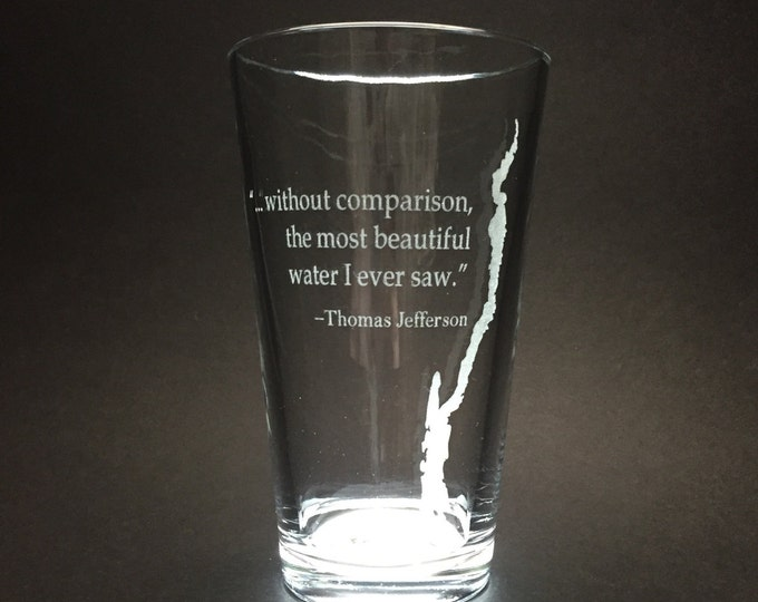 Featured listing image: Set of 2 Lake George with Thomas Jefferson quote  - Etched Pint Glass