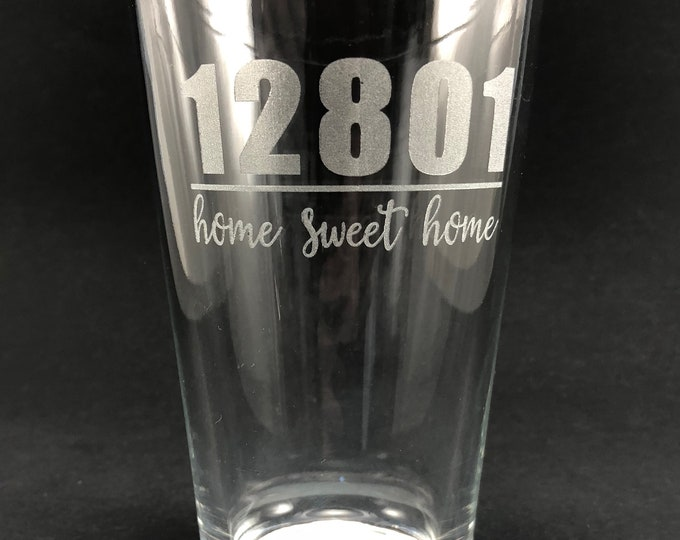 12801  Home Sweet Home  - Etched Pint Glass - Glens Falls