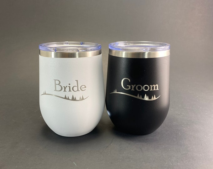 Bride and Groom Rustic Treeline Set of Two 12 oz Polar Stemless Wine