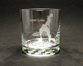 Loon Lake - Etched 10.25 oz Rocks Glass - Loon Lake  New York