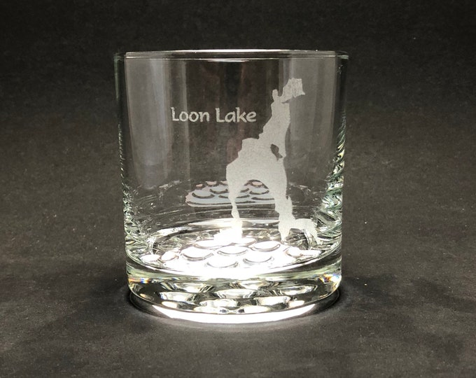 Loon Lake - Etched 10.25 oz Rocks Glass - Loon Lake  New York