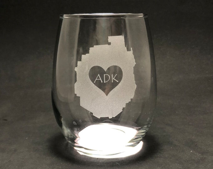 Adirondack Park love 15 oz Stemless Wine Glass