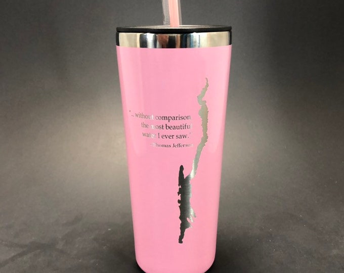 Lake George with Thomas Jefferson Quote  laser etched on a 22 oz insulated tumbler