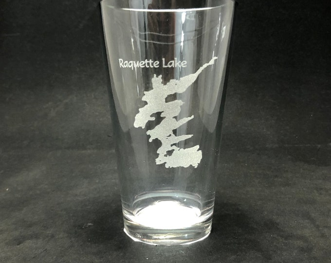 Set of 2 Raquette Lake Laser Etched Pint Glass