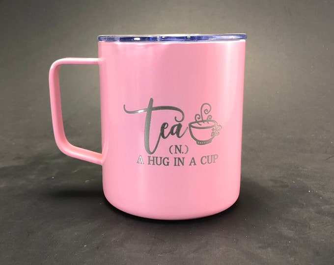 Tea, hug in a cup - 14 oz Stainless Steel Handled Mug
